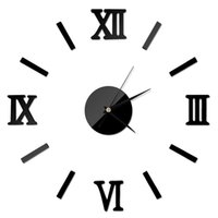 Wholesale decor chic resale online - New Fashion Chic Adhesive Silver Vintage Roman Numeral Number Frameless Wall Clock D Home Decor High Quality TY898