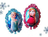 Wholesale Anna Mirror - free shipping 79*65cm 65*53cm Mirror Frozen balloon for birthday party Princess frozen Elsa anna Aluminum foil cartoon helium balloons