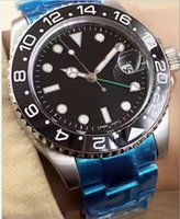 Wholesale Gmt Watch Stainless - 2017 Hot AAA luxury Automatic Mens watch GMT Lum Black blue Ceramic Bezel watch BLRO Stainless original clasp Mens Watches free shippin