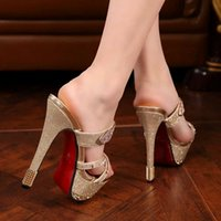 Wholesale Taiwan Sexy Gold - Spring summer 2016 in Europe and the new high with fine wedding shoe cool slippers with waterproof Taiwan diamond club sexy female sandals