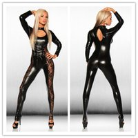 Wholesale Wetlook Bondage - 2016 new Women sexy Faux Leather Metallic PVC Fetish Gothic Catsuit & Bodysuit Wetlook Latex Jumpsuit Bondage Harness Costumes