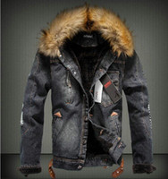 Wholesale Rivet Jeans Jacket - New Winter Men Clothing Jeans Coat Men Outwear With Fur Collar Wool Denim Jacket Thick Clothes FREE SHIPPING