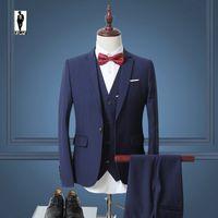 Wholesale Designed Suits For Men - UR 02 Navy Blue Bussiness Handmade Plus Size Latest Design Costume Homme Blazer Tuxedo Wedding Suits For Men Custom Made Men Suits