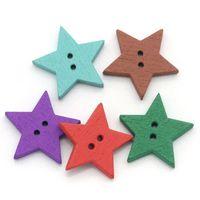 boutons d'étoiles en bois achat en gros de-2015 NOUVEAUX 100PCS Boutons En Bois À Coudre Scrapbooking Étoile En Forme Mixte 24mmx23mm (1