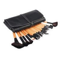Wholesale eyeshadow leather case - 24 Pcs Set Professional Makeup Brushes Eyeshadow Lip Concealer Powder Foundation Brush Set Kit Cosmetic Tool With Leather Case
