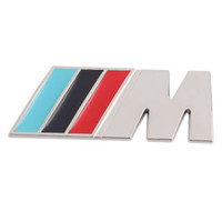 Wholesale 3M M Series Big Mpower M tech on Car Trunk Badge Emblem D Pure Metal Front Hood Grille Sticker logo M M3 M5 for BMW Car Styling Sticker