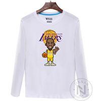 Wholesale Kobe Cartoon T Shirt - 2016 Wholesale New Basketball Los Angles Kobe Cartoon Image Lakers Man Spring Autumn Long Sleeve T-Shirts 5 colors 100% cotton Large Sizes