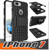 Wholesale Dual Layer Drop - For iPhone 7 Plus Case Tough Dual Layer Rugged Rubber Hybrid Hard and Soft Drop Impact Resistant Protective Casee Cover With Kickstand