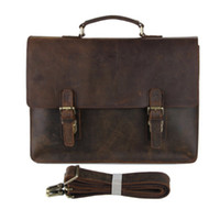 Wholesale 2016 Brand New Men Genuine Cow Leather Bag Brown Color Boy Solid Dress Briefcase Man Laptop Holder Handbag Single Shoulder Bag