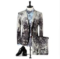 Wholesale Peacock Mens - Wholesale- Light Grey Slim Fit Suits For Men Peacock Parrot Pattern Stage Wear Vintage Wedding Mens Skinny Suit M-3XL (Blazer+Pants+Shirts)