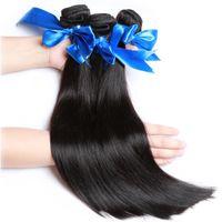 bakire saç düz inç toptan satış-WYF Sınıf 10A Kapatma Ile Brezilyalı Bakire Saç 3 Demetleri 100% Virgin İnsan Saç Paketler Düz Saç Örgü Uzantıları Toptan Demetleri