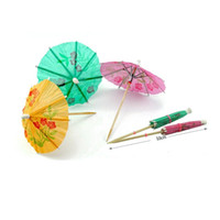 Wholesale Cocktail Parasol Pick - 144pcs Paper Cocktail Parasols Umbrellas Drinks Picks Wedding Event Party Supplies Holidays Cocktail Garnishes Holders ZA0977
