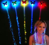 Wholesale Luminous Rave - LED flash butterfly fiber braid party dance lighted up glow luminous hair extension rave halloween decor Christmas event favor