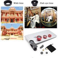 Wholesale Len Clip Eye - 3 In 1 Universal Clip camera Mobile Phone Len Fish Eye + Macro + Wide Angle for iphone 6 5 4 Samsung S7 S6 Fisheye
