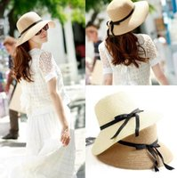 Wholesale Golf Accessory Wholesale - Newest Vintage women Wide Brim Hats girls Teen lady travel beach holiday straw bowknot sun hat caps Fashion Accessories drop shipping