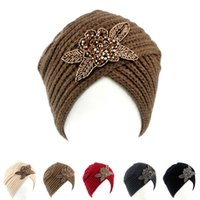 Wholesale Hijab Knit - Women Jewel Accessory Hijab Headband Classic Double Stretch Women Knitted Turban Headwrap Turbante Hat free shipping