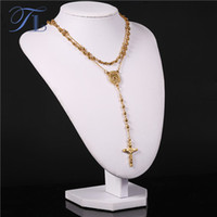 Wholesale Vintage Strand Gold Necklace - TL Gold Color Stainless Steel Strand Beads Long Necklace Jesus Cross Pendant Necklaces For Women Religion Noble Vintage Jewelry