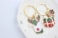 Wholesale Girl Tin Box - 2016 Hot Sale Christmas Style Key Rings Fashion Accessories Free Shipping Cute Christmas Boxes Key Rings 72