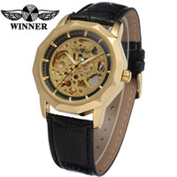 Wholesale winner automatic full black - 2018 Hot luxury brand Winner men full hollow automatic mechanical watches watches irregular vibrant watch 5 style any color choice