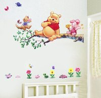 Wholesale Stickers For Walls Kids - Cartoon wall sticker for kids Cubs bear wall mural living room sofa background children Decals Wallpaper Decoration Wall Stickers