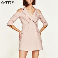 Wholesale Type Ladies Dress - Spring new European casual brief dress fashion sleeve hollow out notched collar ladies pink suit type dress HJH1223
