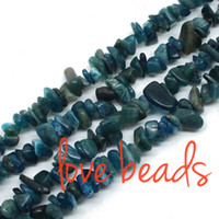 Wholesale Oval Lapis Beads - 5mm-8mm Natural Apatite Gravel Stone Loose Beads Chips Beads Strand 80cm wholesale Diy Bracelet (F00317) wholesale