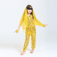 Wholesale indian costume kids for sale - 2017 Children Belly Dance Costumes Girls Performance Dancing Sets Indian Sari Dresses For Kids Stage Performance Dancewear