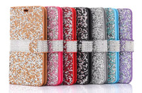 Bling Full Diamond Rhinestone Flip Wallet Caso de capa de couro PU para iPhone 5 6 6s mais 7 7plus 8 8plus Samsung S7 edge S8 plus