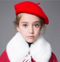 Wholesale Drawer Protection - Girl Beret Kids Autumn Winter Princess Hat Baby Woolen Cap Drawer Painter Headwear Red Black Yellow