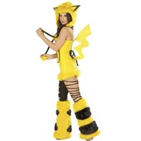 Wholesale Sexy Costume Furry - Hot Sale Woman Lady Sexy Wild girl Pikachu Furry Costume Clubwear Lingerie Fancy Halloween Free size, O S, One size Cosplay
