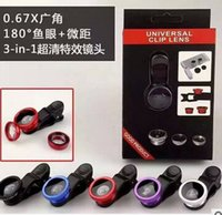 Wholesale Galaxy Micro Lens - Universal 3 in 1 Clip 180 Degree Fish Eye Wide Angle Micro Mobile Phone Lens For iPhone 6 6S plus 5S SE Samsung Galaxy S6 S7 edge retail box