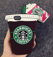 Wholesale Mobile Coffee - Cartoon Starbuck Coffee Cup Silicone Soft Case For Apple iPhone 4 4s 5 5s 6 6 Plus 3D Starbuck Mobile Phones Back Cover