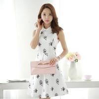 Wholesale Doll Pattern Woman - Summer new Korean doll collar sleeveless printing eyes pattern so lovely Slim thin women dresses top tees