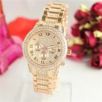 relógio de ouro diamante homem venda por atacado-Relógios de Quartzo de alta Qualidade Algarismos Romanos Relógios de Luxo Bling Relógios De Diamante para Homens Mulheres Moda Relógios De Pulso De Ouro