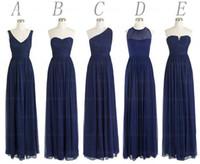 uzun şifon koyu lacivert elbise toptan satış-Ücretsiz Kargo Stilleri Şifon Kat Uzunluk Uzun Koyu Lacivert akşam Elbise Kadın Düğün Olay Kıyafeti Toptan 2019