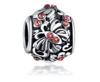 ingrosso spacer della farfalla-Adatto per Pandora Bracciali 30pcs Crystal Butterfly Spacer Argento Charms Bead Branelli di fascino Per gioielli fai-da-te europei in argento