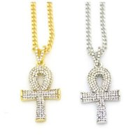 MENS ICED OUT GOLD MEEK MILL DREAM CHASERS CRIANÇA PENDENTE COLAR SETWomen 14k Amarelo Ouro prata esterlina Cz Peace Ankh Cross Pendant Chain