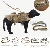 Wholesale led dog collar xl resale online - Quick Release Heavy Duty Dog Rope Leash D Tactical Airsoft Outdoor Sport Hunting Accessories Dog Lead Belt Dog Chain XL colors
