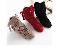 Wholesale Cute Low Boots Women - Women's Boots Summer Cute Flock Flat Low Hidden Wedges Solid Cut-outs Ankle Boots Ladies Dress Casual Shoes 3 colors size 35-43