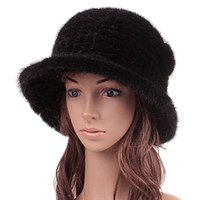 Wholesale Mink Fur Flowers - Wholesale-Women Fur Hat Winter Natural Mink Hair Fur Cap With Fur Flowers Top Knitted Bucket Hats 2015 New Fashion Good Quality Hat Sale