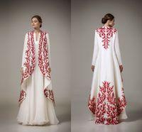 estudios rojos al por mayor-Elegante blanco y rojo Apliques Vestidos de noche Ashi Studio 2016 -2017 Manga larga Una línea Vestidos de baile Ropa formal Mujeres Cabo Vestidos de fiesta