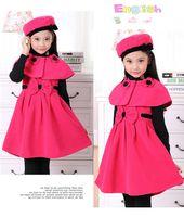 Wholesale Coat Dress Red Wool - Autumn Or Winter Wool Princess Dress Three Piece With Hood Korean Girls Shawl HAT DRESS SET