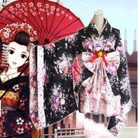 Wholesale Princess Kimono - Wholesale-2016 Sakura Cosplay Lolita Costume Anime Outfit Japanese Kimono Maid Lolita Costume Princess Dress