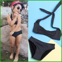 Wholesale Cool Swimwear Bikinis - cool feeling baby girls swimsuit black dot lovely cute children diving clothing sets summer swimwear clothing set fre shipping