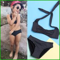 Wholesale Cool Swimwear Bikinis - cool feeling baby girls swimsuit black dot lovely cute children diving clothing sets summer swimwear clothing set fre shipping