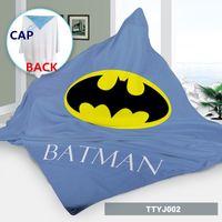 Wholesale Batman Bath Robe - Cosplay Bath towel cape ponchos custom made batman kids capes Cartoon Cosplay Costume baby blanket hoodie beach towel