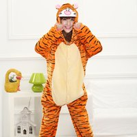 Bella di vendita calda Economici Orange Tigger Kigurumi Pajamas Anime Pigiama Cosplay adulti Unisex Tutina Dress Sleepwear Halloween S M L XL