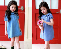 Wholesale wholesale tutus for little girls - 2016 New Little Girls Lotus Leaf Short Sleeve Sold Denim Blue & Polka Dot Dress For Party Wedding Dress For Summer Spring