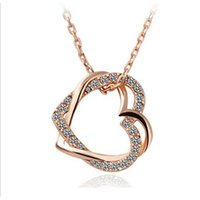 Jóias de moda 18K Rose Gold Plated Double Heart Clear Crystal Cluster Chain Pendant Necklace para mulheres