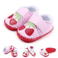 Wholesale casual shoes for toddlers - New Arrival Wholesale Baby Walking Shoes Cherry Design Hand-stitched Hook & Loop Soft Leather Toddler Shoes For Girls Casual ShoeS